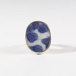 Jewelry - VINTAGE Sterling Silver Blue Porcelain Ring 7